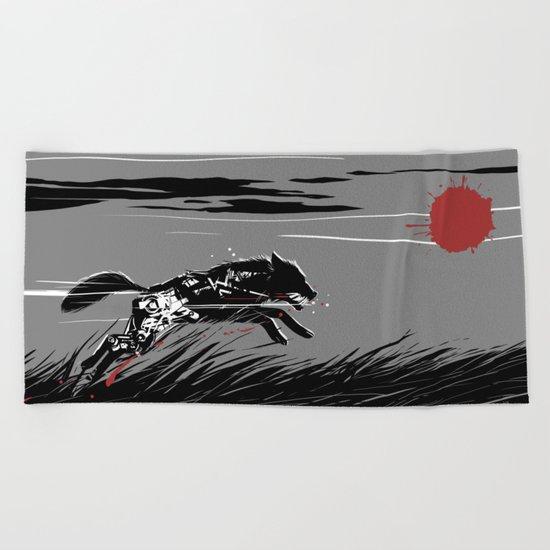 Mecha Wolf Beach Towel