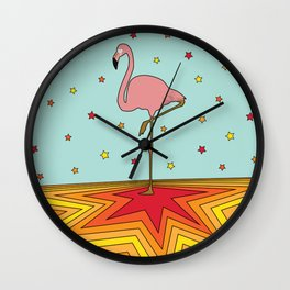 Starry Dancing Flamingo on Turquoise Background Wall Clock