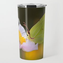 Yellow butterfly on a flower Travel Mug