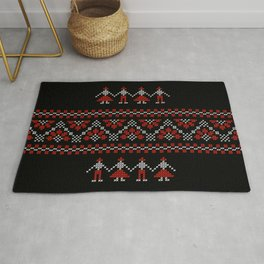Traditional Romanian white & red cross-stitch people on black Rug