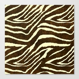 Animal Print Zebra in Winter Brown and Beige Canvas Print
