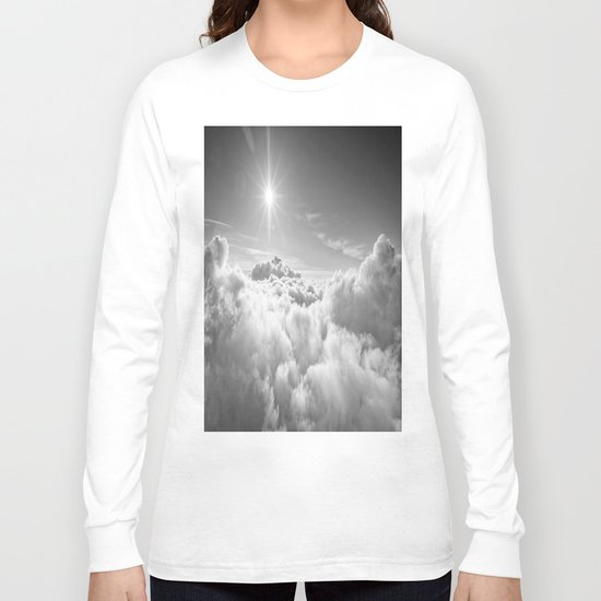 Clouds Gray & White Long Sleeve T-shirt
