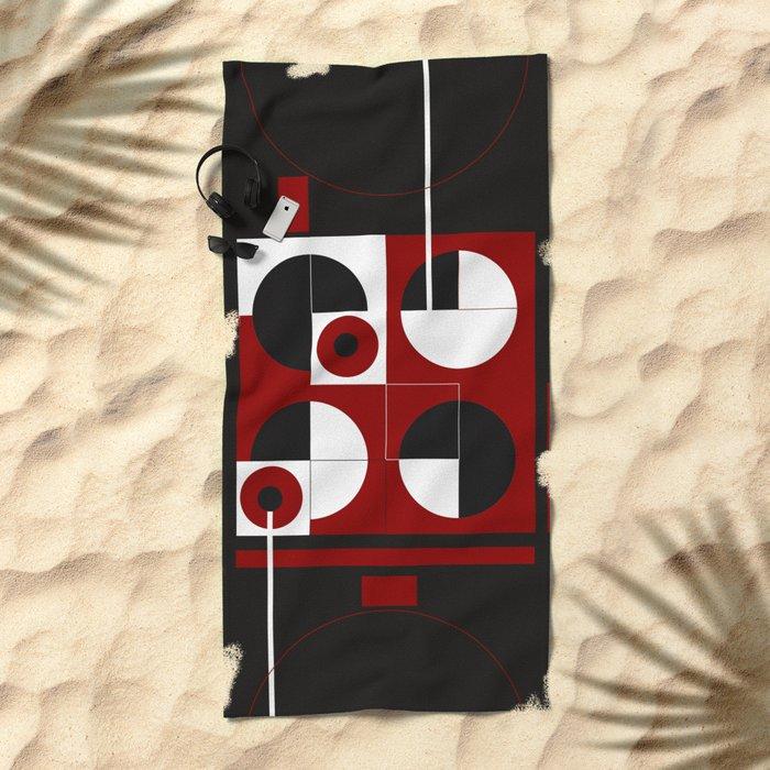 Geometric/Red-White-Black  1 Beach Towel