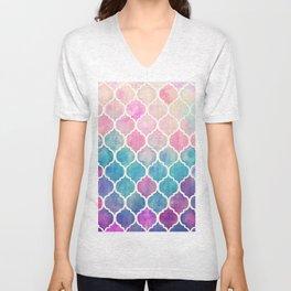 Rainbow Pastel Watercolor Moroccan Pattern Unisex V-Neck
