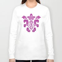 damask Long Sleeve T-shirts featuring Fuchsia Damask by Bailey Anderson