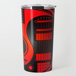 Red and Black Acoustic Electric Yin Yang Guitars Travel Mug