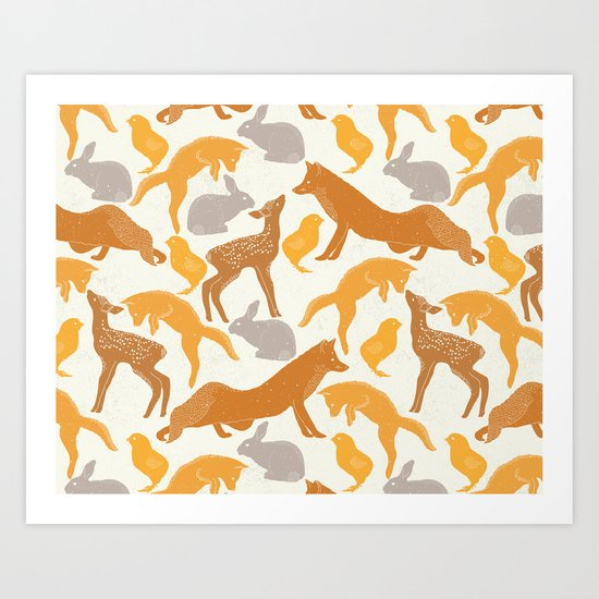 Deer Fox Rabbit Chick Playing Art Print