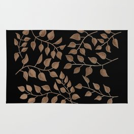Gold Branches on Black Rug