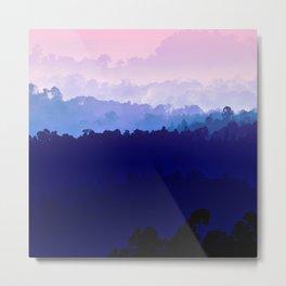 Mountain View Pastel Pink Metal Print
