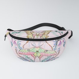 Chinese Moon Moth and Butterflies Fanny Pack