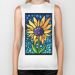 Standing Tall - Sunflower Art By Sharon Cummings Biker Tank