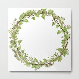 Geenery Wreath Metal Print