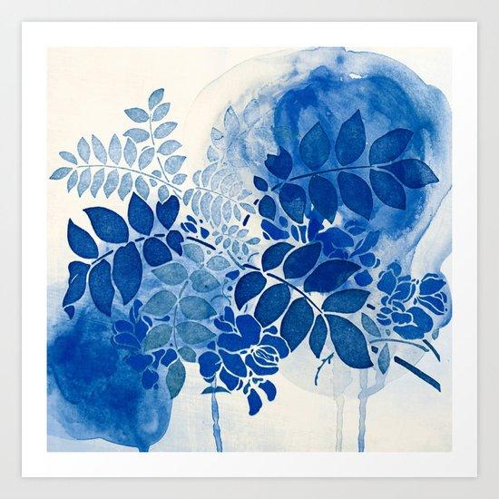 monochrome floral in blue Art Print