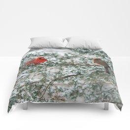 Snowy Branch Cardinals Comforters