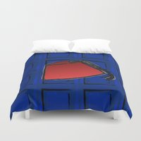 fez Duvet Covers featuring Fez on Blue by Kristi Duggins