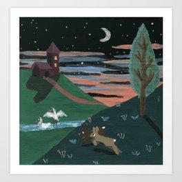 Nighttime rabbits Art Print