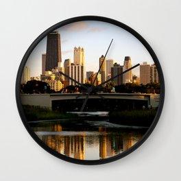 Chicago Skyline Reflection Wall Clock