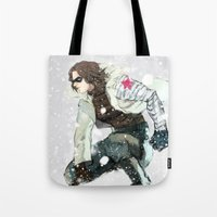 the winter soldier Tote Bags featuring winter soldier by MacheteJo