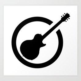 Black Ink Stamp Guitar Art Print