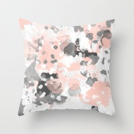 grey and millennial pink abstract painting trendy canvas art decor minimalist Throw Pillow