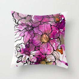 Magenta Flowers Throw Pillow
