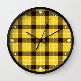 Yellow Plaid Tartan Wall Clock