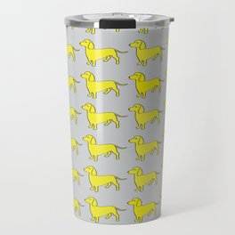 Doxie Love - Grey and Yellow Travel Mug