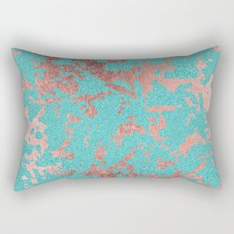 Modern turquoise glitter faux rose gold marble Rectangular Pillow