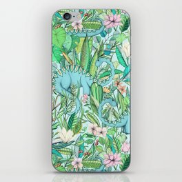 Improbable Botanical with Dinosaurs - soft pastels iPhone Skin
