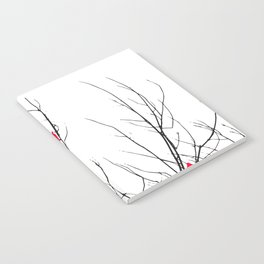 Artistic Bright Red Birds on Tree Branches Notebook