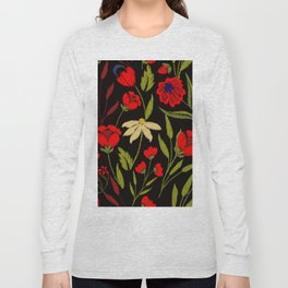 Floral embroidery Long Sleeve T-shirt