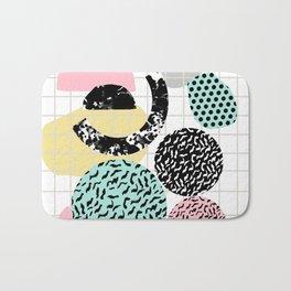 Amped - retro memphis throwback 80s style grid dots painting cut paper Bath Mat