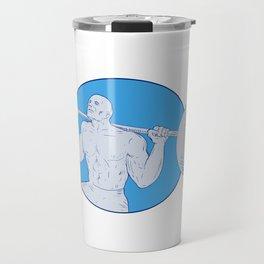 Strongman Powerlifting Barbell Drawing Travel Mug