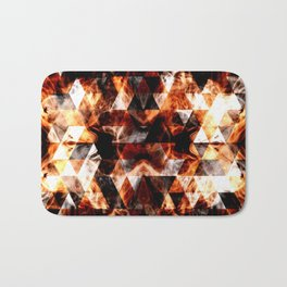 Electrifying orange sparkly triangle fire flames Bath Mat