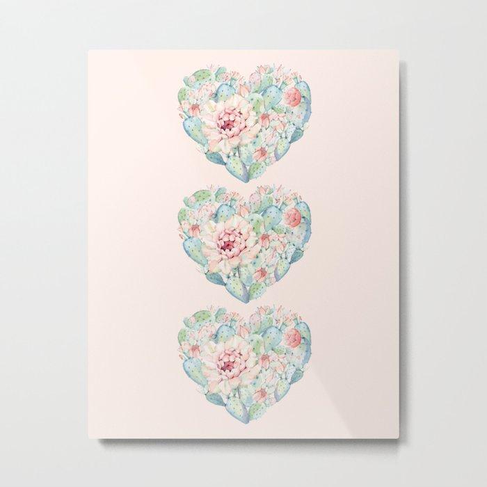 Three Hearts Cactus Rose Metal Print