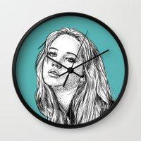 jennifer lawrence Wall Clocks featuring Jennifer Lawrence by Sharin Yofitasari