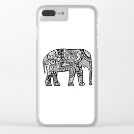 Black and white elephant Clear iPhone Case