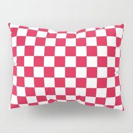 White and Crimson Red Checkerboard Pillow Sham