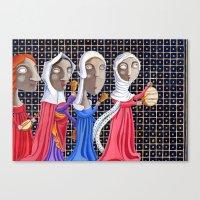 federico babina Canvas Prints featuring L'epoca di Federico II - Corteo di dame by Francesca Cosanti