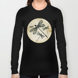 Dragonflies on tan texture Long Sleeve T-shirt