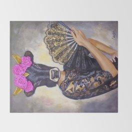 Flamenco-dancer with hand fan Throw Blanket