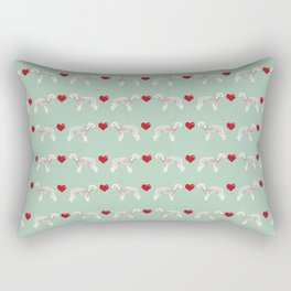 Bedlington Terrier dog breed hearts love unique dog breed gifts by pet friendly Rectangular Pillow