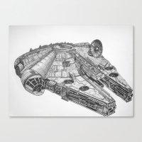 millenium falcon Canvas Prints featuring Millenium Falcon by Jack Kershaw