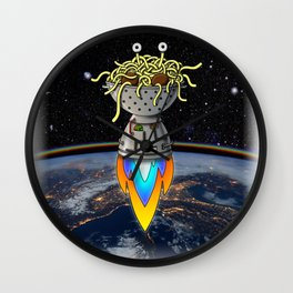Flying Spaghetti Monster Earth Space Stars Rocket Atmosphere Wall Clock