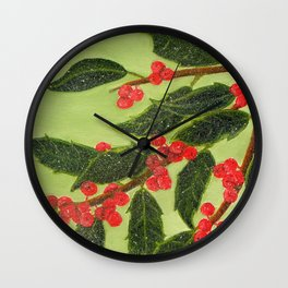 Frosty Holly Berries Wall Clock