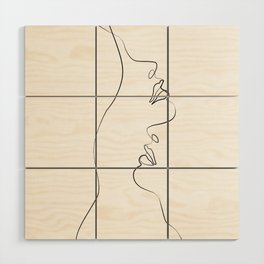 Lovers - Minimal Line Drawing Art Print4 Wood Wall Art