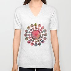 Abstract Floral Circles Unisex V-Neck