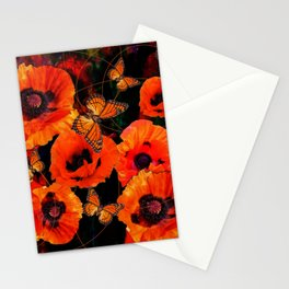 ORANGE MONARCH BUTTERFLIES POPPY GARDEN ART Stationery Cards