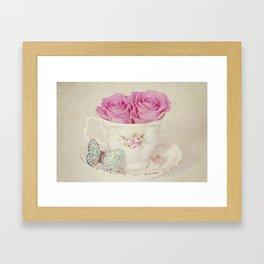 Vintage Pastel Shades Roses in a Teacup Framed Art Print