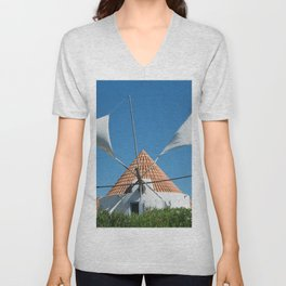 Windmill house, Portugal Unisex V-Neck